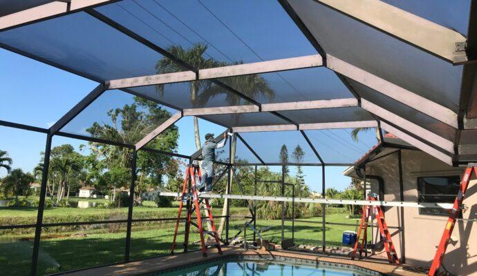 Repair Screen Enclosures-Wellington Pool Screen Enclosure Installation and Repairs-We do screen enclosures, patios,poolscreens, fences, aluminum roofs, professional screen building, Pool Screen Enclosures, Patio Screen Enclosures, Fences & Gates, Storm Shutters, Decks, Balconies & Railings, Installation, Repairs, and more